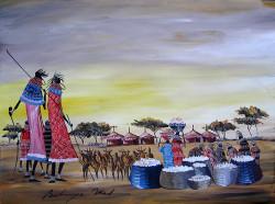 Bulinya - Maasai Women with Baskets and Goats