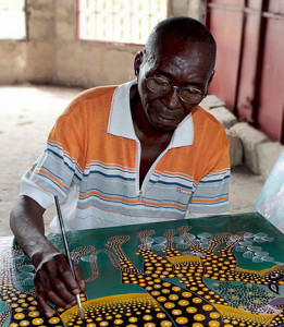 Noel Kapanda is may be the least- known Tingatinga artist in Dar es Salaam - but he should be the best known!